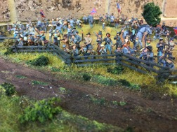 Confederate at a snake fence.